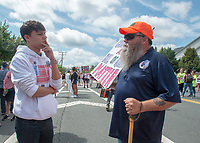Fairfax,VA August 4 2018, USA:  Demonstrators on both sides of the gun control issue rally at the National headquarters of the National Rifle Association (NRA) in Fairfax, VA.  Dubbed  &quot;The March on the NRA&quot; protestors line the streets in fron the of headquarters.  DC.  <br /> CAP/MPI/PYL<br /> &copy;PYL/MPI/Capital Pictures