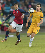 23rd March 2018, Ullevaal Stadion, Oslo, Norway; International Football Friendly, Norway versus Australia; Bjorn Maars Johnsen of Norway beaten by the turn from Milos Degenek of Australia