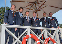 Moscow, Russia, 13 th July, 2016, Tennis,  Davis Cup Russia-Netherlands, Official Diner at Royal Bar , Dutch team posing on the lifeguard post, ltr: captain Jan Siemerink, Robin Haase, Wesley Koolhof , Tim van Rijthoven,Thiemo de Bakker and Matwe Middelkoop, <br /> Photo: Henk Koster/tennisimages.com