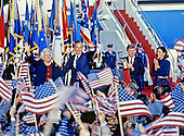 United States President-elect George H.W. Bush and Vice President-elect Dan Quayle return to Andrews Air Force Base, just outside Washington, D.C. after winning the 1988 Presidential Election on November 9, 1988.  From left to right: Barbara Bush, President-elect Bush, VP-elect Quayle, and Marilyn Quayle..Credit: Ron Sachs / CNP
