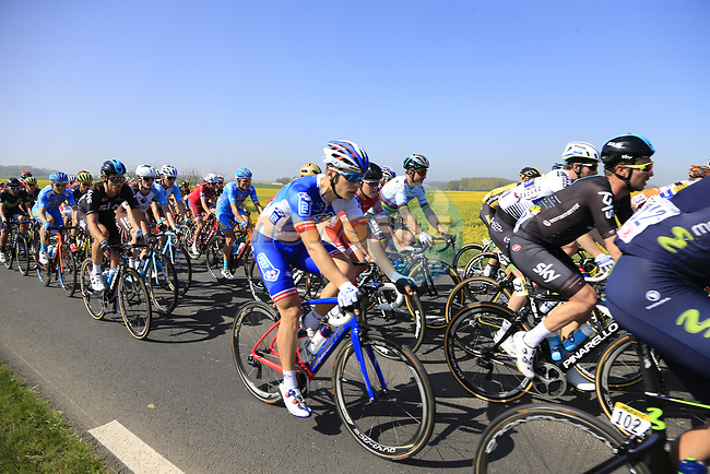 The peloton in action near Noyon during the 115th edition of the Paris-Roubaix 2017 race running 257km Compiegne to Roubaix, France. 9th April 2017.<br /> Picture: Eoin Clarke   Cyclefile<br /> <br /> <br /> All photos usage must carry mandatory copyright credit (&copy; Cyclefile   Eoin Clarke)