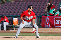 Ji-Man Choi #17 of the High Desert Mavericks in the field during a game against the Inland Empire 66'ers at San Manuel Stadium on April 8, 2013 in San Bernardino, California. Inland Empire defeated High Desert, 6-2. (Larry Goren/Four Seam Images)