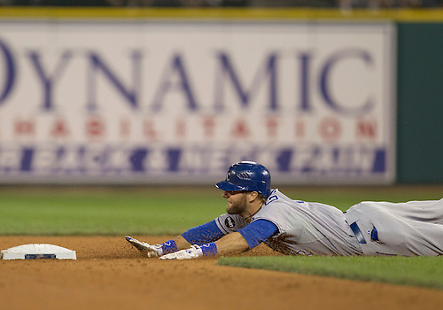 August 30, 2011:  Kansas City Royals left fielder Alex Gordon (#4) slides into second base for a double during MLB game action between the Kansas City Royals and the Detroit Tigers at Comerica Park in Detroit, Michigan.  The Tigers defeated the Royals 2-1.