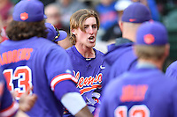 Third baseman Patrick Cromwell (25) of the Clemson Tigers celebrates a home run in the ninth inning in the Reedy River Rivalry game against the South Carolina Gamecocks  on Saturday, March 4, 2017, at Fluor Field at the West End in Greenville, South Carolina. Clemson won, 8-7. (Tom Priddy/Four Seam Images)