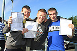 Thomas Connor, Jordan Hatch and Joel Everitt with there Leaving cert result..Picture Fran Caffrey www.newsfile.ie
