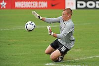 USA goalkeeper Cody Cropper (18) makes a save. The US U-17 Men's National Team defeated the Development Academy Select Team 3-1 during day one of the US Soccer Development Academy  Spring Showcase in Sarasota, FL, on May 22, 2009.