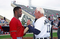 St. Louis Cardinals shortstop Ozzie Smith (1) talks with Detroit Tigers manager Sparky Anderson (11) during Spring Training 1993 at Joker Marchant Stadium in Lakeland, Florida.  (MJA/Four Seam Images)