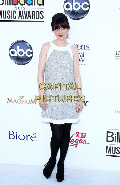 Zooey Deschanel.2012 Billboard Music Awards arrivals at the MGM Grand Garden Arena Las Vegas, Las Vegas, Nevada, USA..May 20th, 2012.full length black grey gray white sleeveless dress black tights beads beaded .CAP/ADM/MJT.© MJT/AdMedia/Capital Pictures.