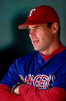 John Wettland of the Texas Rangers plays in a baseball game at Edison International Field during the 1998 season in Anaheim, California. (Larry Goren/Four Seam Images)