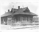 Abandoned C&amp;S depot at Leadville.  The print is marked &quot;C&amp;S Pass. Sta. Littlefield, Colo.  aband.&quot;, but the depot sign says Leadville.<br /> C&amp;S  Leadville, CO