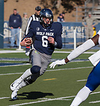 Nevada quarterback Ty Gangi (6) runs against San Jose State in the first half of an NCAA college football game in Reno, Nev. Saturday, Nov. 11, 2017. (AP Photo/Tom R. Smedes)