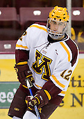 Tony Lucia (University of Minnesota - Plymouth, MN) warms up. The University of Minnesota Golden Gophers defeated the Michigan State University Spartans 5-4 on Friday, November 24, 2006 at Mariucci Arena in Minneapolis, Minnesota, as part of the College Hockey Showcase.