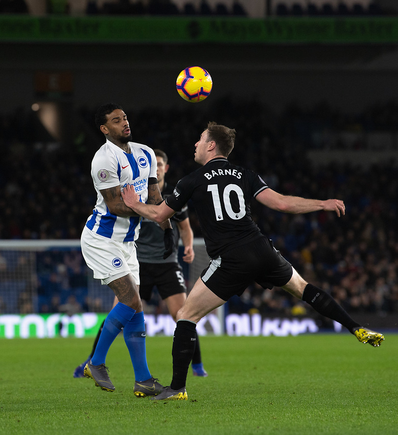 Burnley's Ashley Barnes (right) battles with Brighton & Hove Albion's Jurgen Locadia (left) <br /> <br /> Photographer David Horton/CameraSport<br /> <br /> The Premier League - Brighton and Hove Albion v Burnley - Saturday 9th February 2019 - The Amex Stadium - Brighton<br /> <br /> World Copyright © 2019 CameraSport. All rights reserved. 43 Linden Ave. Countesthorpe. Leicester. England. LE8 5PG - Tel: +44 (0) 116 277 4147 - admin@camerasport.com - www.camerasport.com