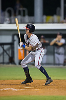 Drew Waters (12) of the Danville Braves follows through on his swing against the Burlington Royals at Burlington Athletic Stadium on August 14, 2017 in Burlington, North Carolina.  The Royals defeated the Braves 9-8 in 10 innings.  (Brian Westerholt/Four Seam Images)