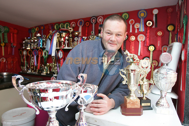 Hugh Rooney with his GSD Trophys..Photo: Fran Caffrey/ Newsfile.<br />