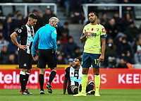 9th November 2019; St James Park, Newcastle, Tyne and Wear, England; English Premier League Football, Newcastle United versus AFC Bournemouth;  Jamaal Lascelles of Newcastle United sits down after getting injured and is substituted - Strictly Editorial Use Only. No use with unauthorized audio, video, data, fixture lists, club/league logos or 'live' services. Online in-match use limited to 120 images, no video emulation. No use in betting, games or single club/league/player publications