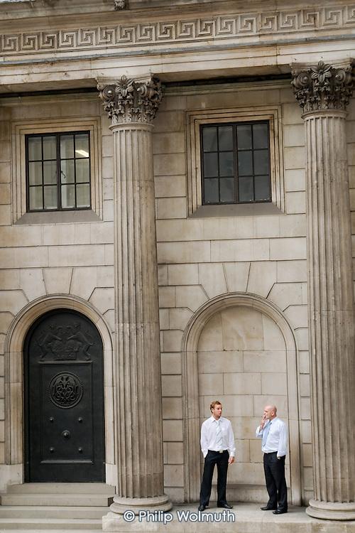 Bank of England staff take a cigarette break