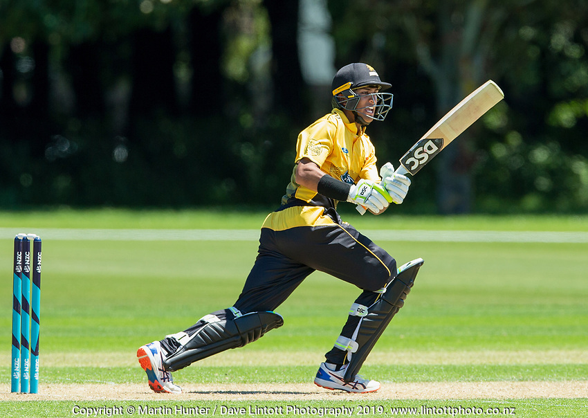 Rachin Ravindra of Wellington. Wellington Firebirds v Auckland Aces Ford Trophy One Day Match Round Three at Lincoln No.3 in Lincoln, New Zealand on Monday, 25 November 2019. Photo: Martin Hunter / lintottphoto.co.nz