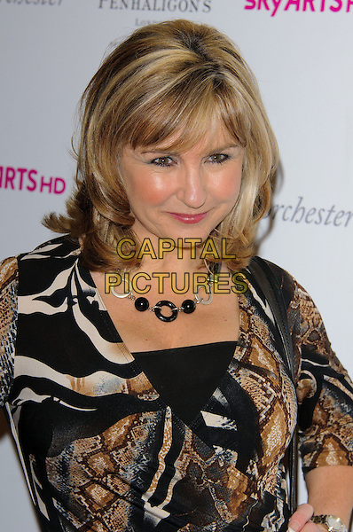 LESLEY GARRETT .Attending the South Bank Sky Arts Awards, The Dorchester Hotel, London, England, UK, 25th January 2011..portrait headshot black necklace brown white print  .CAP/CJ.©Chris Joseph/Capital Pictures.