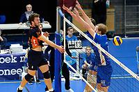 GRONINGEN - Volleybal, Abiant Lycurgus - Orion, Alfa College , Eredivisie , seizoen 2017-2018, 16-12-2017 /6/ klopt het blok met Lycurgus speler Sander Scheper