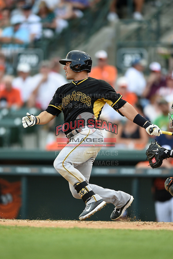 Catcher Tony Sanchez (26) of the Pittsburgh Pirates during a spring training game against the Baltimore Orioles on March 23, 2014 at McKechnie Field in Bradenton, Florida.  Baltimore and Pittsburgh played to a 7-7 tie.  (Mike Janes/Four Seam Images)
