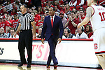 RALEIGH, NC - FEBRUARY 03: NC State head coach Kevin Keatts. The North Carolina State Wolfpack hosted the University of Notre Dame Fighting Irish on February 3, 2018 at PNC Arena in Raleigh, NC in a Division I men's college basketball game. NC State won the game 76-58.
