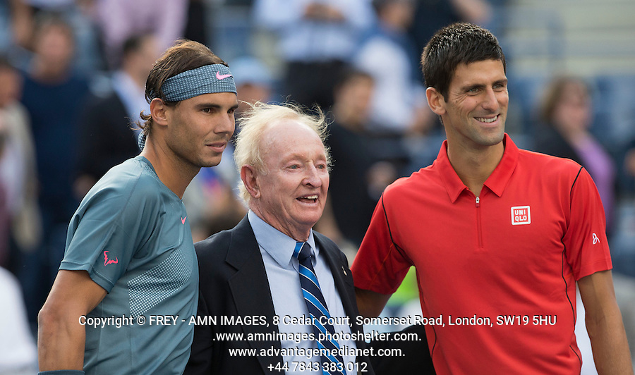 Rafael Nadal, Novak Djokovic, Rod Laver<br /> Tennis - US Open  - Grand Slam -  Flushing Meadows  2013 -  New York - USA - United States of America - Monday 9th  September 2013. <br /> &copy; AMN Images, 8 Cedar Court, Somerset Road, London, SW19 5HU<br /> Tel - +44 7843383012<br /> mfrey@advantagemedianet.com<br /> www.amnimages.photoshelter.com<br /> www.advantagemedianet.com<br /> www.tennishead.net