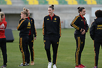 20180228 - LARNACA , CYPRUS :  Belgian players with Heleen Jaques (middle) pictured during a recognition of the pitch before women's soccer game between Spain and the Belgian Red Flames , on friday 2 March 2018 at the AEK Arena in Larnaca , Cyprus . This is the second  game in group B for  Belgium during the Cyprus Womens Cup , a prestigious women soccer tournament as a preparation on the World Cup 2019 qualification duels. PHOTO SPORTPIX.BE | DAVID CATRY