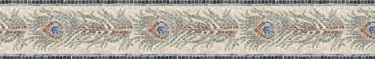 "6 1/2"" Peacock Feather border, a hand-chopped stone mosaic, shown in tumbled Travertine White, Giallo Reale, Blue Macauba, Lapis, Verde Luna, Salmon Moss, Rosa Bordeaux, Aegean Brown, Travertine Noce, Rosa Verona, and Nero Marquina."