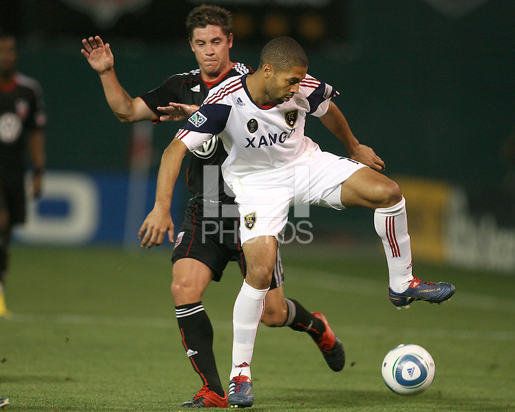 Devon McTavish #18 of D.C. United comes up behind Alvaro Saborio #15  of Real Salt Lake during an Open Cup match at RFK Stadium, on June 2 2010 in Washington DC. DC United won 2-1.