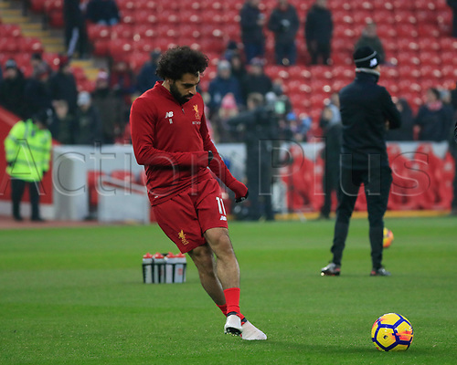 3rd March 2018, Anfield, Liverpool, England; EPL Premier League football, Liverpool versus Newcastle United; Mohamed Salah of Liverpool warms up for the game