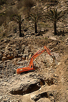Digging out mountain to widen roads, Vallehermosa, La Gomera, Canary Islands, Spain