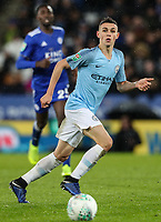 Manchester City's Phil Foden <br /> <br /> Photographer Andrew Kearns/CameraSport<br /> <br /> English League Cup - Carabao Cup Quarter Final - Leicester City v Manchester City - Tuesday 18th December 2018 - King Power Stadium - Leicester<br />  <br /> World Copyright &copy; 2018 CameraSport. All rights reserved. 43 Linden Ave. Countesthorpe. Leicester. England. LE8 5PG - Tel: +44 (0) 116 277 4147 - admin@camerasport.com - www.camerasport.com