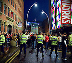© Joel Goodman - 07973 332324 - all rights reserved . 27/05/2009 . Manchester , UK . Manchester United fans react after watching their team lose 2-0 to Barcelona in the UEFA Champions League Final . The match , played at Rome's Stadio Olimpico , was watched on TV screens at venues in The Printworks in Manchester City Centre . Photo credit : Joel Goodman