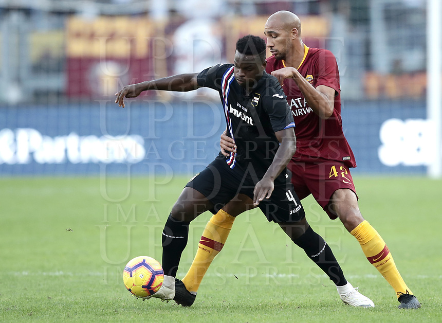 Football, Serie A: AS Roma - Sampdoria, Olympic stadium, Rome, November 11, 2018. <br /> Roma's Steven Nzonzi (r) in action with Sampdoria's Bryan Cristante (l) during the Italian Serie A football match between Roma and Sampdoria at Rome's Olympic stadium, on November 11, 2018.<br /> UPDATE IMAGES PRESS/Isabella Bonotto