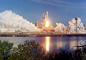 STS-1, the maiden flight of the Space Shuttle Columbia and the first flight of the Space Shuttle Program, lifts-off from Launch Complex 39A at the John F. Kennedy Space Center in Cape Canaveral, Florida with astronauts John W. Young and Robert L. Crippen aboard on April 12, 1981.  The astronauts orbited the Earth 37 times before returning 54 1/2 hours later.<br /> Credit: Arnie Sachs / CNP