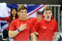 Great Britain's Tom Daley and Matty Lee entertain the crowds with a remote control boat race <br /> <br /> Photographer Hannah Fountain/CameraSport<br /> <br /> FINA/CNSG Diving World Series 2019 - Day 1 - Friday 17th May 2019 - London Aquatics Centre - Queen Elizabeth Olympic Park - London<br /> <br /> World Copyright © 2019 CameraSport. All rights reserved. 43 Linden Ave. Countesthorpe. Leicester. England. LE8 5PG - Tel: +44 (0) 116 277 4147 - admin@camerasport.com - www.camerasport.com