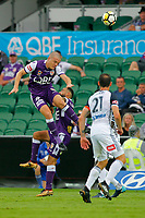 25th March 2018, nib Stadium, Perth, Australia; A League football, Perth Glory versus Melbourne Victory; Shane Lowry of the Perth Glory wins the header over team mate Diego Castro during the first half
