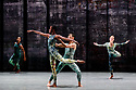 Rambert presents RAMBERT EVENT, by Merce Cunningham, at Sadler's Wells. Choreography by Merce Cunningham, staging by Jeannie Steele, Music by Philip Selway, Quinta and Adem Ilhan, designs inspired by Gerhard Richter's 'Cage' series, performed by Rambert. The dancers are: Jacob Wye, Kym Sojourna, Max Day, Hannah Rudd