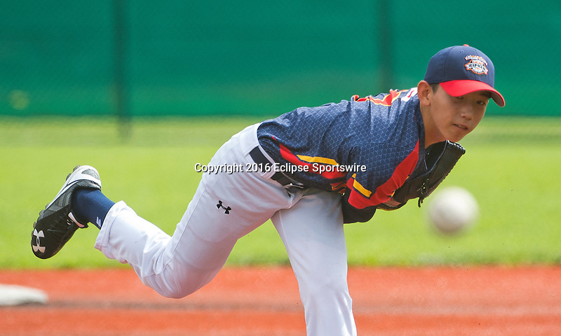 ABERDEEN, MD - AUGUST 02: Hiroki Hayashi #7 of Japan pitches against New Zealand during a game between Japan and New Zealand during the Cal Ripken World Series at The Ripken Experience Powered by Under Armour on August 2, 2016 in Aberdeen, Maryland. (Photo by Ripken Baseball/Eclipse Sportswire/Getty Images)
