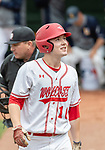 MIDDLETOWN, CT. 06 June 2018-060618BS565 - Wolcott's Jack Drewry (16) reacts after striking out during the CIAC Tournament Class M Semi-Final baseball game between Ledyard and Wolcott at Palmer Field on Wednesday afternoon. Wolcott beat Ledyard 9-4 and advances the Class M final this weekend. Bill Shettle Republican-American