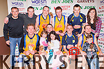 Killorglin CYMS team celebrate after defeating St Mary's in the Division 1 Mens final on Tuesday evening in the St Marys Basketball blitz at Castleisland Community Centre front row l-r: Dainius Varanauskas, Niamh, Niall and Eimear Murphy, Mark O'Shea, Declan and Jamie Wall. Back row: Charlie buckley, Maurice Sheehan, Saulius Marcinkevicius, John Tyther, Darragh Jones and Roisin Casey