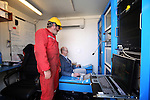 "CALAIS - FRANCE - 20 May 2015 -- In October 2015 the French ship ""Ile de Brehat"" will start laying a 1200 km long subsea optical cable from Helsinki to Rostock Germany. - The remote control room of the submarine robot, Cinia Vice-President Jukka-Pekka Joensuu on the controls. -- PHOTO: Juha ROININEN / EUP-IMAGES"