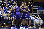 DURHAM, NC - NOVEMBER 16: High Point players huddle during a stoppage. The Duke University Blue Devils hosted the High Point University Panthers on November 16, 2017 at Cameron Indoor Stadium in Durham, NC in a Division I women's college basketball game. Duke won the game 77-50.