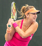 March 25 2016:  Karolina Pliskova (CZE) defeats Belinda Bencic (SUI) by 4-1, retired, at the Miami Open being played at Crandon Park Tennis Center in Miami, Key Biscayne, Florida.