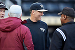 Wake Forest Demon Deacons head coach Tom Walter (16) prior to the game against the Florida State Seminoles at David F. Couch Ballpark on March 9, 2018 in  Winston-Salem, North Carolina.  The Seminoles defeated the Demon Deacons 7-3.  (Brian Westerholt/Sports On Film)