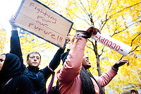 After marching earlier in the morning with the aim to shut down Wall Street and the Stock Exchange, hundreds of protesters regather in Zuccotti Park on November 17, 2011 in New York City.  After some deliberation many of the protesters decide to march to Union Square to join an already gathered group of student protesters.