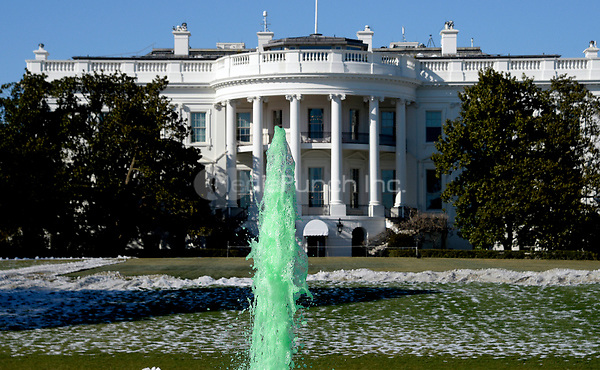 Fountain on the South side of the White House is dyed green for St. Patrick's Day in Washington D.C.,on March 16, 2017 in Washington, DC. <br /> Credit: Olivier Douliery / Pool via CNP /MediaPunch