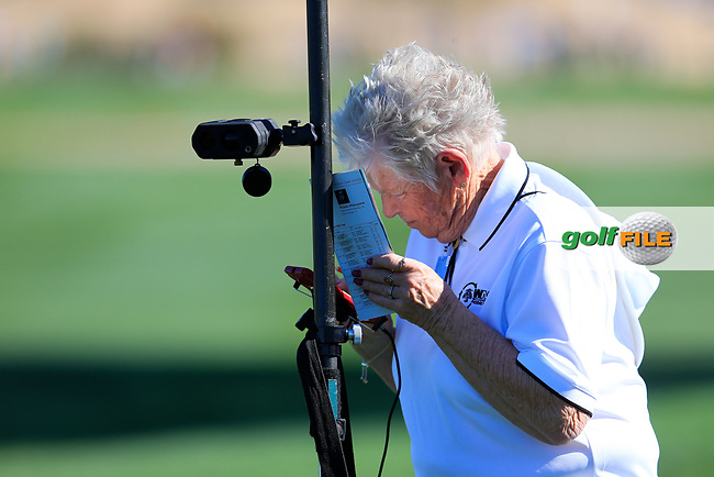 doing the math during the 2nd round of the Waste Management Phoenix Open, TPC Scottsdale, Scottsdale, Arisona, USA. 01/02/2019.<br /> Picture Fran Caffrey / Golffile.ie<br /> <br /> All photo usage must carry mandatory copyright credit (&copy; Golffile | Fran Caffrey)