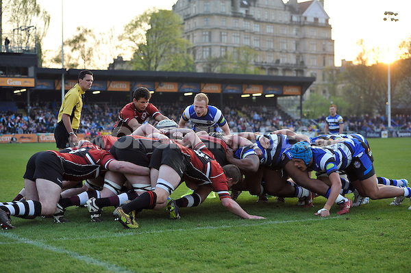 The Somerset and Bath United packs set a scrum. End-of-season friendly match, between Bath United and Somerset County Senior XV on April 20, 2015 at the Recreation Ground in Bath, England. Photo by: Patrick Khachfe / Onside Images